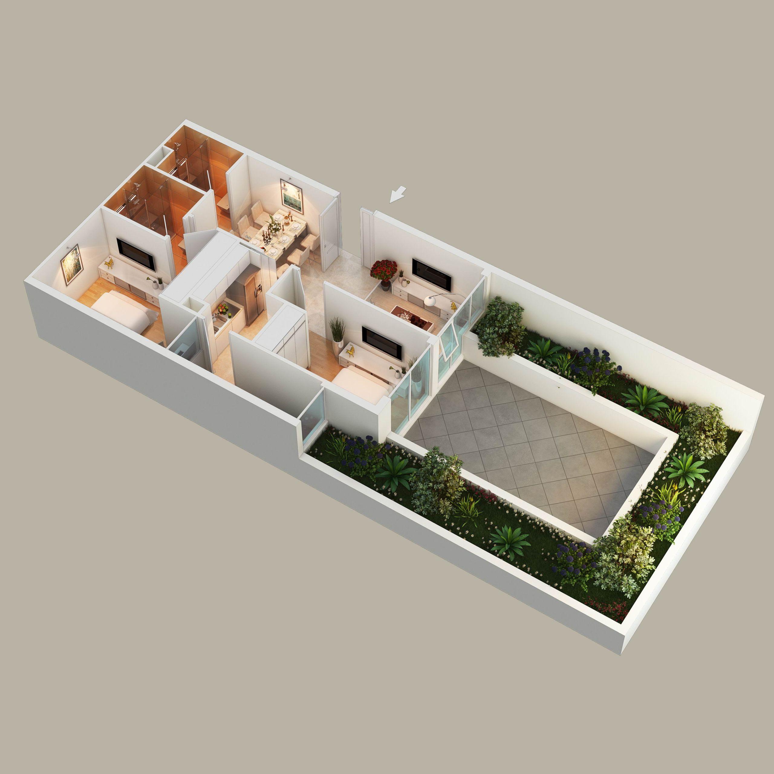 3D view af plantegning